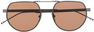 Thom Browne Eyewear RWB soft round-frame sunglasses