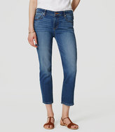 LOFT Frayed Straight Crop Jeans in Medium Bleach Wash