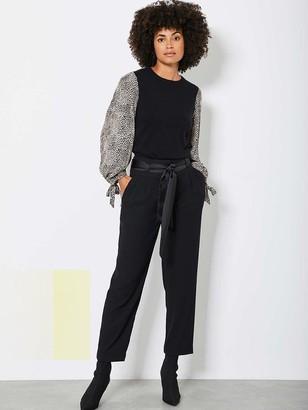 Mint Velvet Print Sleeve Easy Jumper - Black