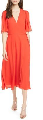 Alice + Olivia Suri Flutter Sleeve Wrap Midi Dress