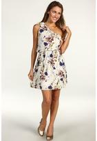 Kensie Floral Print One Shoulder Dress (Oyster Multi) - Apparel