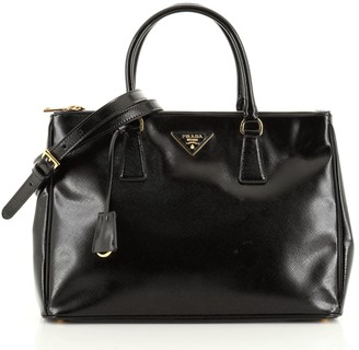Prada Double Zip Lux Tote Vernice Saffiano Leather Medium