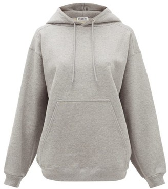 Balenciaga Logo-embroidered Cotton-jersey Hooded Sweatshirt - Grey