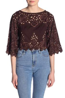 Kas Floral Cutout Embroidered Crop Top