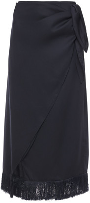 Mother of Pearl Holly Fringe-trimmed Sateen Midi Wrap Skirt