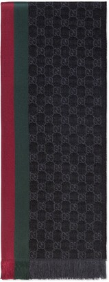 Gucci GG jacquard knitted scarf with Web