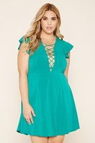 Forever 21 FOREVER 21+ Plus Size Lace-Up Skater Dress