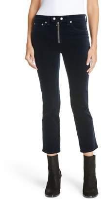 Rag & Bone Dojo High Waist Velvet Crop Skinny Pants