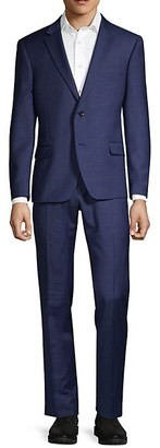 Tommy Hilfiger Lowen Stretch-Fit Windowpane Wool-Blend Suit
