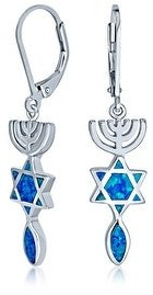 Bling Jewelry Star of David Je Created Blue Opal Dangle Earrings Sterling Silver