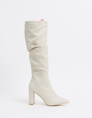 Public Desire Mine slouch knee boots in bone