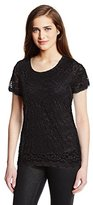 Notations Women's Short Sleeve Lace Tee with DTM Lining