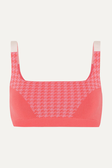 NAGNATA + Net Sustain Houndstooth Technical Stretch-organic Cotton Sports Bra - Bright pink