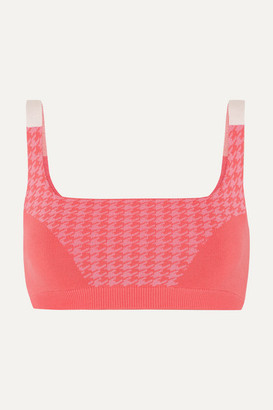 NAGNATA + Net Sustain Houndstooth Technical Stretch-organic Cotton Sports Bra - Bright pink