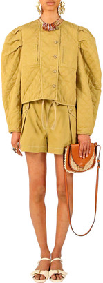 Ulla Johnson Women's Arlo Puffed Sleeve Jacket - Khaki/blue - Moda Operandi