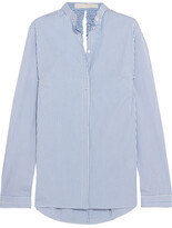 Dion Lee Cutout Striped Cotton-blend Poplin Shirt - Sky blue