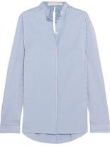 Dion Lee Cutout Striped Cotton-blend Poplin Shirt