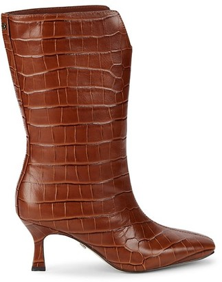 Sam Edelman Lolita Mid-Calf Croc-Embossed Leather Boots