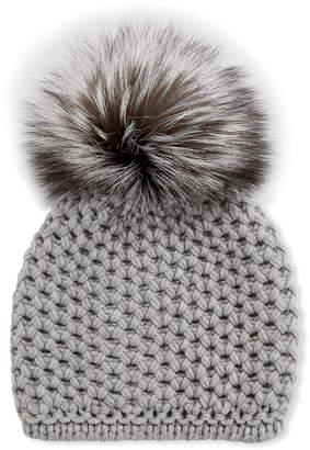 Inverni Honeycomb Cashmere Beanie Hat w/ Fox Fur Pompom