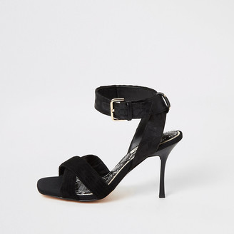River Island Black cross strap high heeled sandal