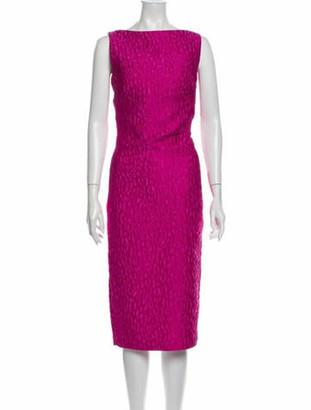 Brandon Maxwell Bateau Neckline Midi Length Dress Pink
