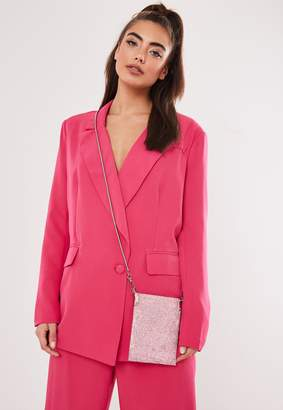 Missguided Pink Diamante Embellished Pouch Bag