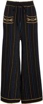 Gucci Metallic Stripe Jacquard Wool Blend Sweater Pants