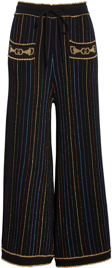 Gucci Metallic Stripe Jacquard Wool Sweater Pants