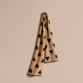 Burberry Metallic Heart Print Wool and Cashmere Blend Scarf