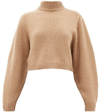 The Row Tabeth Cropped Cashmere Sweater - Womens - Light Brown