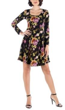 24seven Comfort Apparel Women's Floral Long Sleeve Skater Dress