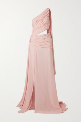 Redemption One-shoulder Draped Cutout Silk-chiffon Maxi Dress - Blush