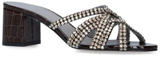 Gina Croc-Embossed Leather Crystal Dexie Sandals 50