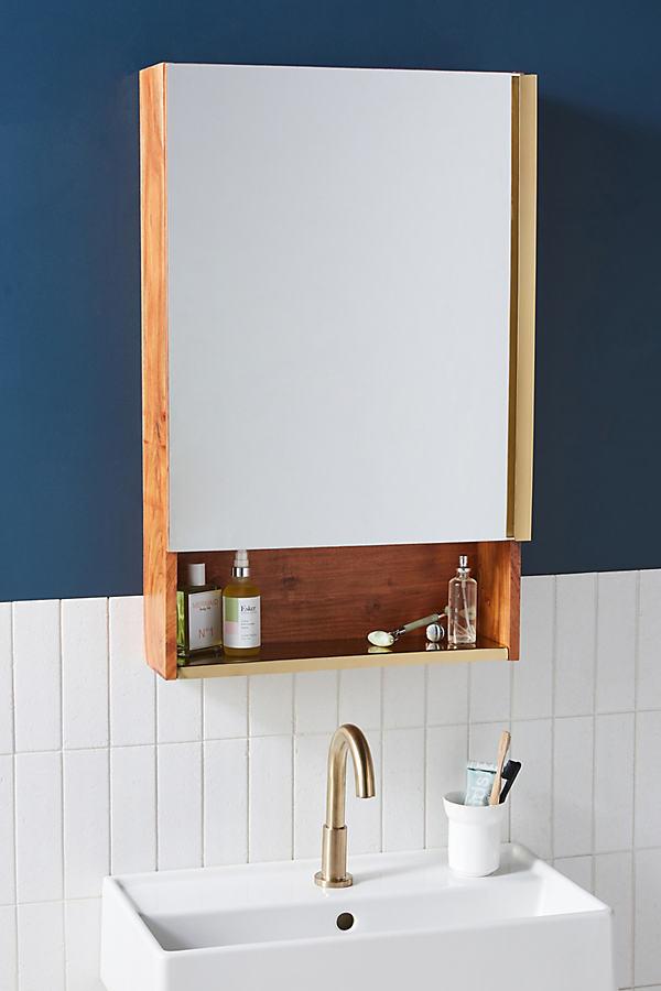 Erma Teak Mirrored Bath Cabinet By Anthropologie in Black Size M