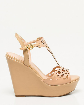 Le Château Brazilian-Made Faux Leather Wedge Sandal