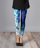 Lily Blue & White Tropic Floral Brushed Slim Fit Pants - Plus Too