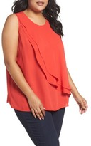Vince Camuto Plus Size Women's Tiered Ruffle Front Blouse