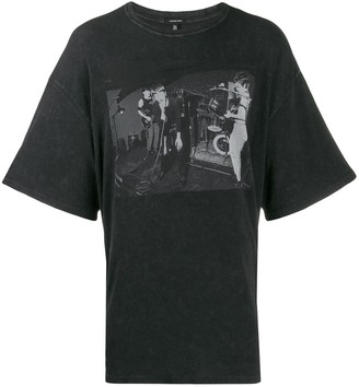 R 13 contrast print T-shirt