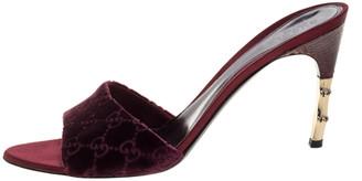 Gucci Burgundy GG Velvet and Snakeskin Bamboo Heel Slides Size 41