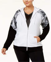 Material Girl Active Plus Size Palm-Print Colorblocked Hoodie, Only at Macy's