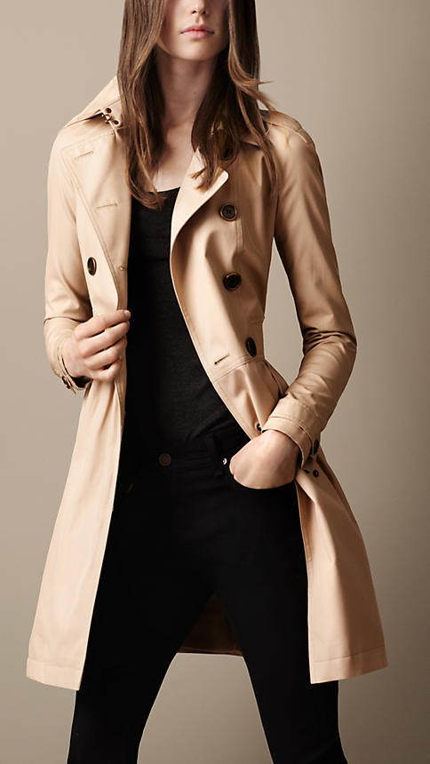 Burberry Mid-Length Cotton Poplin Gathered Skirt Trench Coat