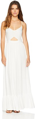 Oasis Wild Beachwear Women's V Neck Spaghetti Strap Cut Out Solid Maxi Dress Medium White