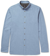 Hackett - Slim-fit Button-down Collar Brushed-cotton Chambray Shirt