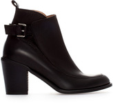 High Heel Leather Ankle Boot With Buckle