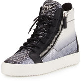 Giuseppe Zanotti Men's Metallic Snake-Print High-Top Sneaker, Gray