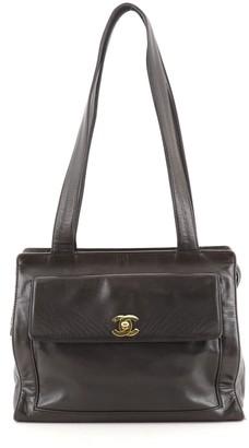 Chanel Front Pocket Shoulder Bag Leather Medium