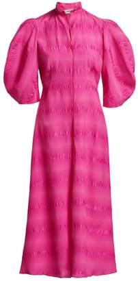 Rachel Comey Amplus Puckered Puff-Sleeve Midi Dress
