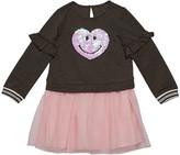 Design History Girls Girl's Sequin Smiley Sweatshirt Dress w/ Tulle Skirt, Size 2-6X
