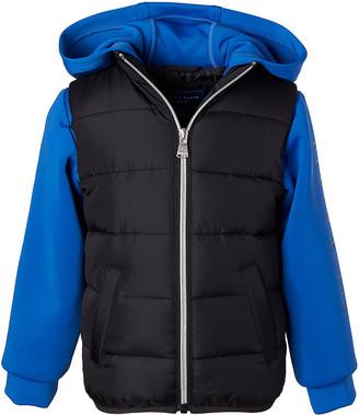 Perry Ellis Boys' Puffer Coats BLACK - Black & Blue Color-Block Neoprene Hooded Puffer Jacket - Boys