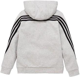 adidas Boys 3 Stripe Full Zip Hoodie - Grey Black